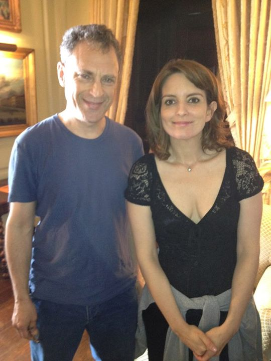 with Tina Fey on the set of Admission